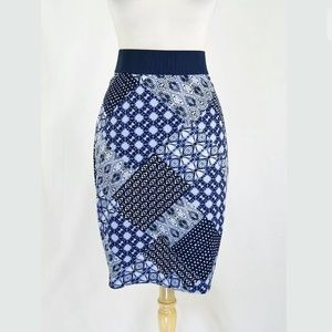 Margaret O'Leary Blue Printed Pencil Skirt Size L